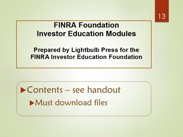 FINRA Foundation - Investor Education Modules