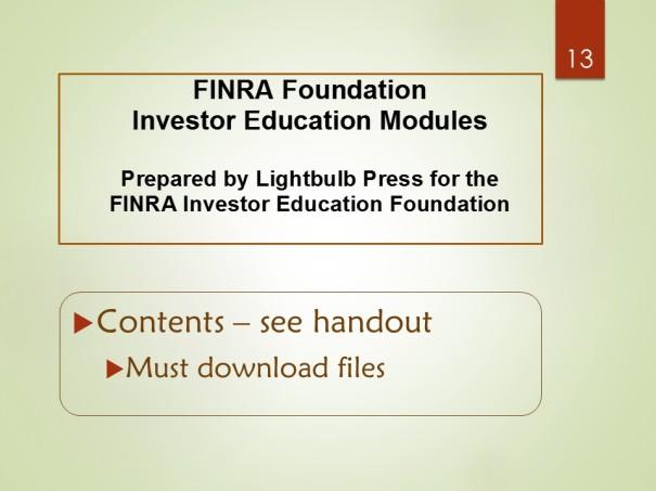 FINRA Foundation - Investor Education Modules