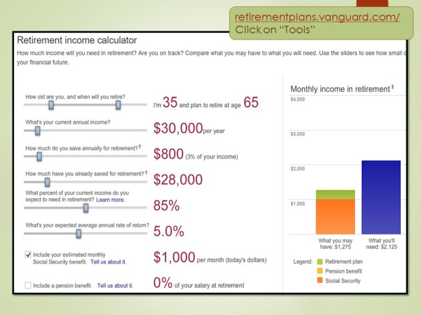Vanguard Retirement Income Calculator
