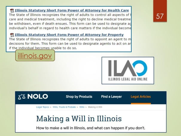 Illinois statutory forms, IL Legal Aid Online, Nolo.com - click tab for legal articles