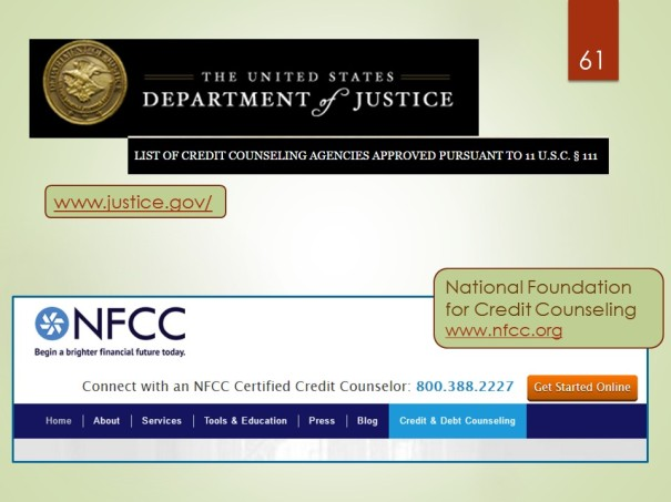 National Foundation for Credit Counseling, Department of Justice list of credit counseling organizations approved to provide bankruptcy counseling