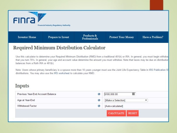 Required Minimum Distribution Calculator