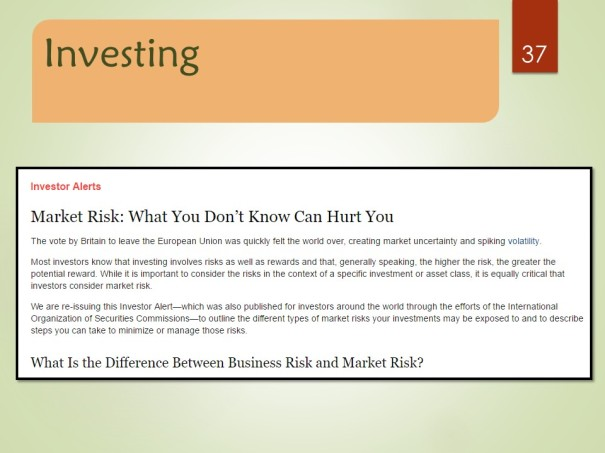Market Risk: What You Don't Know Can Hurt You